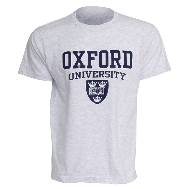 Ash - Front - Mens Oxford University Print Short Sleeve Casual T-Shirt-Top