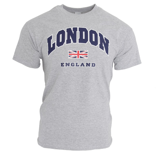 Sports Grey - Front - Mens London England Print 100% Cotton Short Sleeve Casual T-Shirt-Top