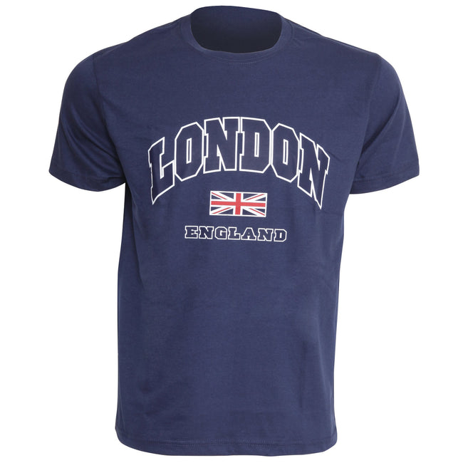 Navy - Front - Mens London England Print 100% Cotton Short Sleeve Casual T-Shirt-Top