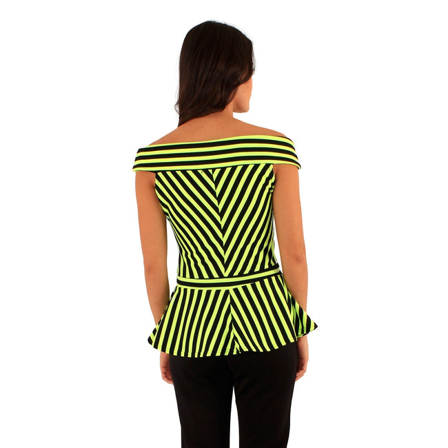 Black-Lime - Back - Lili London Womens-Ladies Spirit Striped Bardot Peplum Top