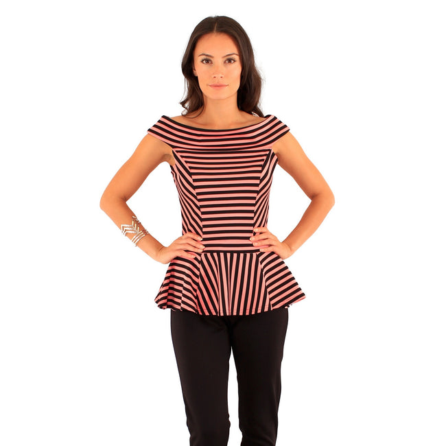 Black-Cream - Front - Lili London Womens-Ladies Spirit Striped Bardot Peplum Top