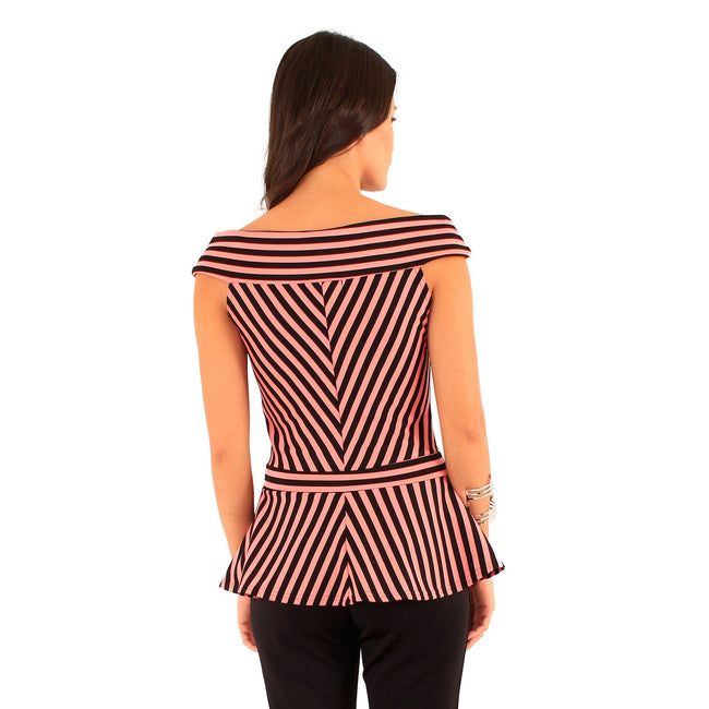 Black-Cream - Back - Lili London Womens-Ladies Spirit Striped Bardot Peplum Top