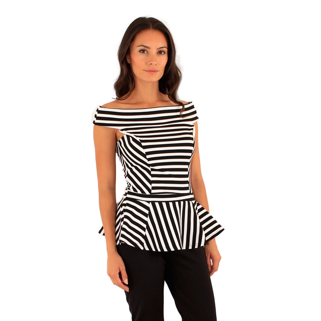 Black-Green - Front - Lili London Womens-Ladies Spirit Striped Bardot Peplum Top