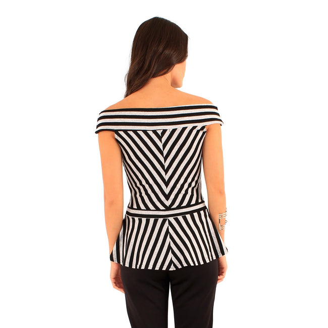 Black-Grey - Back - Lili London Womens-Ladies Spirit Striped Bardot Peplum Top