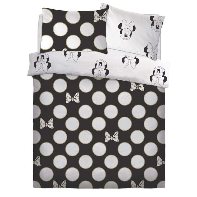 Black-White - Front - Minnie Mouse Gold Bows Duvet Set