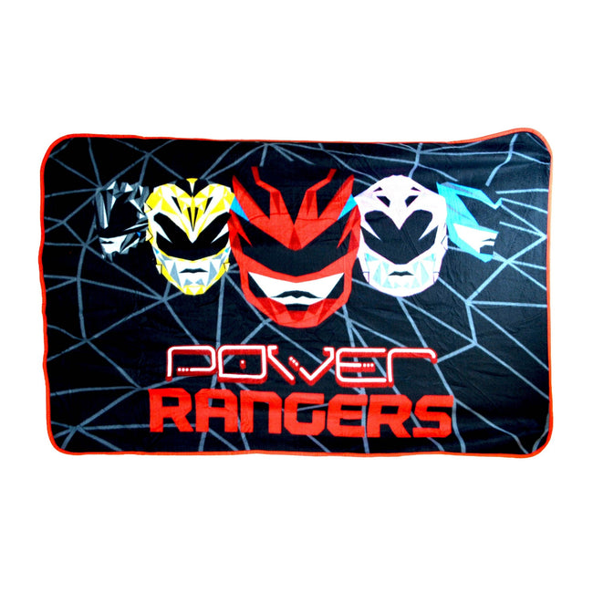 Black - Front - Power Rangers Childrens-Kids Official Geo Shard Fleece Blanket