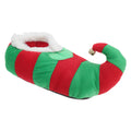 Red-Green - Front - Adults Unisex Striped Elf Design Novelty Christmas Slippers