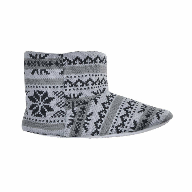 Grey-Black - Back - Slumberzzz Boys Fair Isle Pattern Slipper Boots