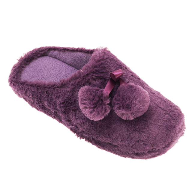 Violet - Front - Slumberzzz Womens-Ladies Faux Fur Slip-On Slippers With Pom-Poms