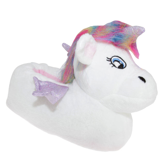 WHITE - Front - Slumberzzz Kids Unicorn Slippers