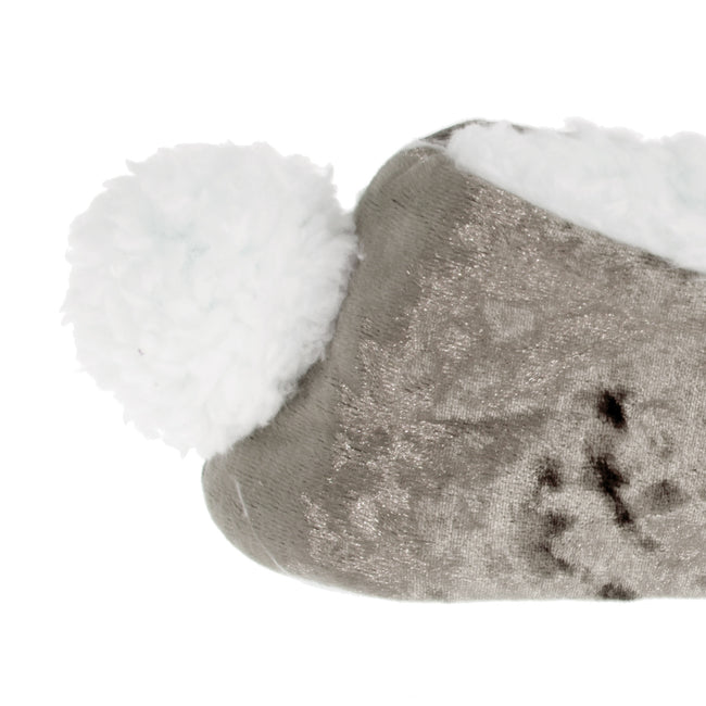 Grey - Lifestyle - Womens-Ladies Rabbit Pom Pom Slippers