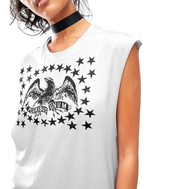 White - Front - Fashionkilla Womens-Ladies Eagle And Stars Print Muscle T-shirt