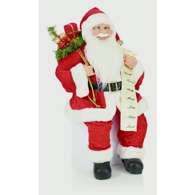 Red-White - Side - Premier Sitting Santa With List