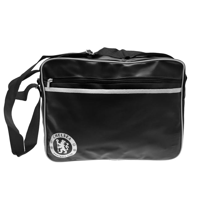 Black-White - Front - Chelsea FC Touch Fastening Messenger Bag