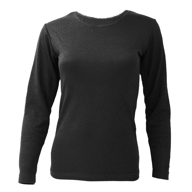 Black - Front - FLOSO Ladies-Womens Thermal Underwear Long Sleeve T-Shirt (Viscose Premium Range)