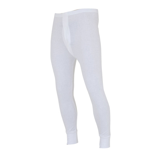 White - Front - FLOSO Mens Thermal Underwear Long Johns-Pants (Standard Range)