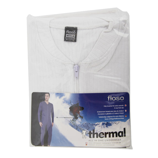 White - Back - FLOSO Mens Thermal Underwear All In One Union Suit