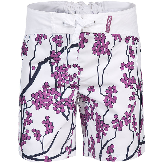White - Front - Trespass Childrens Girls Mabel Lightweight Patterned Board Shorts