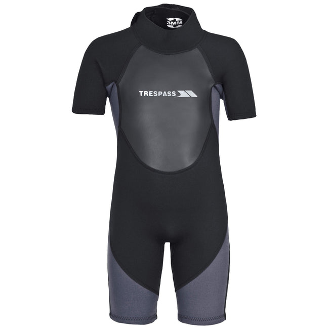 Black - Front - Trespass Childrens Boys Scuba 3mm Short Wetsuit