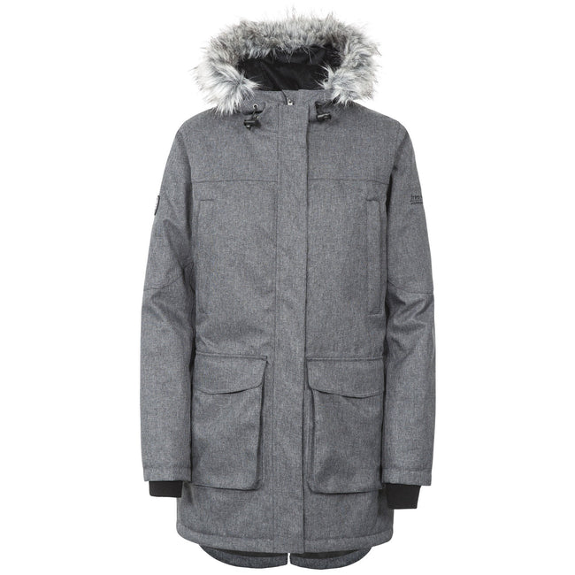 Black-Silver Grey - Front - Trespass Womens-Ladies Thundery Waterproof Jacket