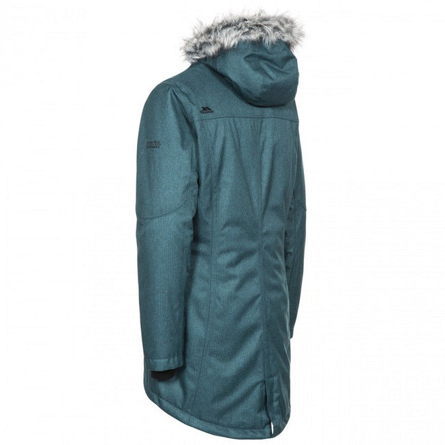 Teal-Silver Grey - Back - Trespass Womens-Ladies Thundery Waterproof Jacket