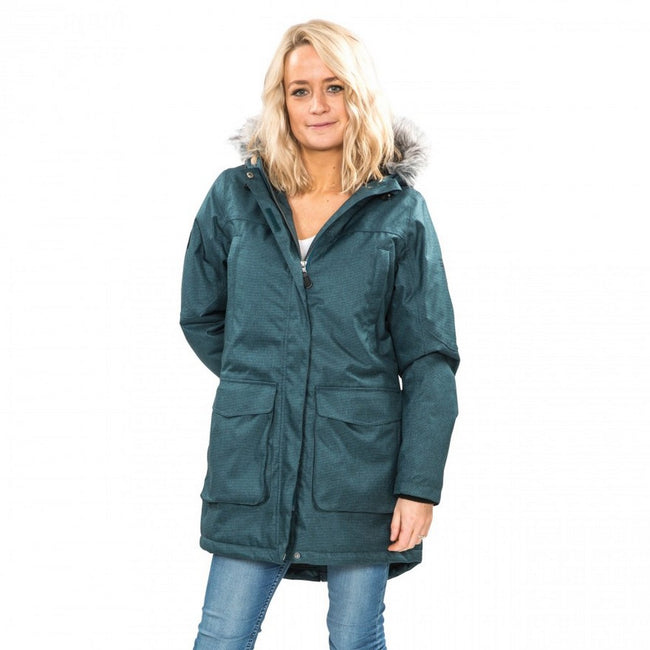 Teal-Silver Grey - Side - Trespass Womens-Ladies Thundery Waterproof Jacket