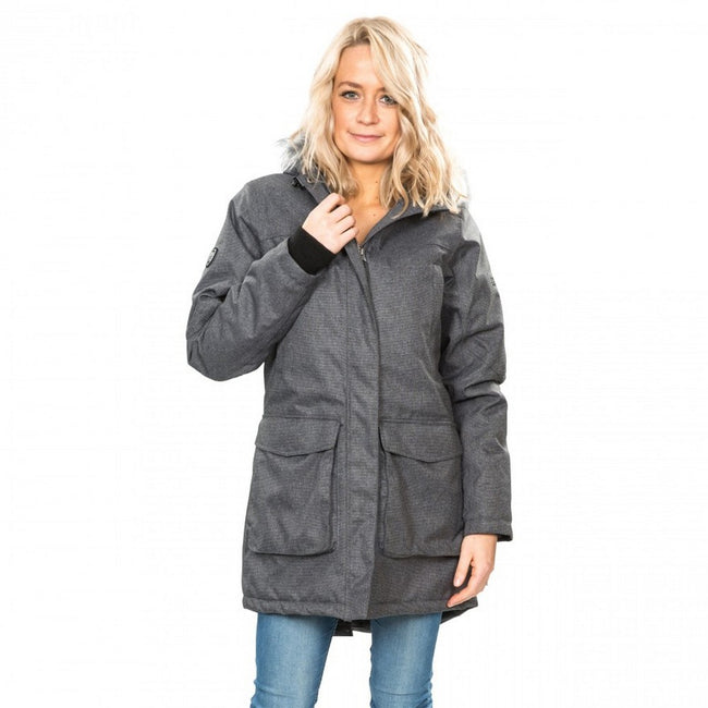 Black-Silver Grey - Side - Trespass Womens-Ladies Thundery Waterproof Jacket