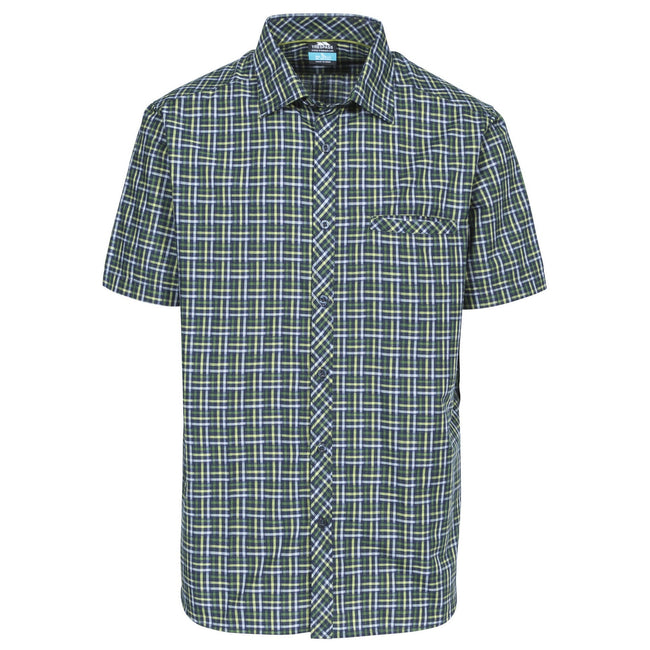 Olive Check - Front - Trespass Mens Baffin Short Sleeve Casual Shirt