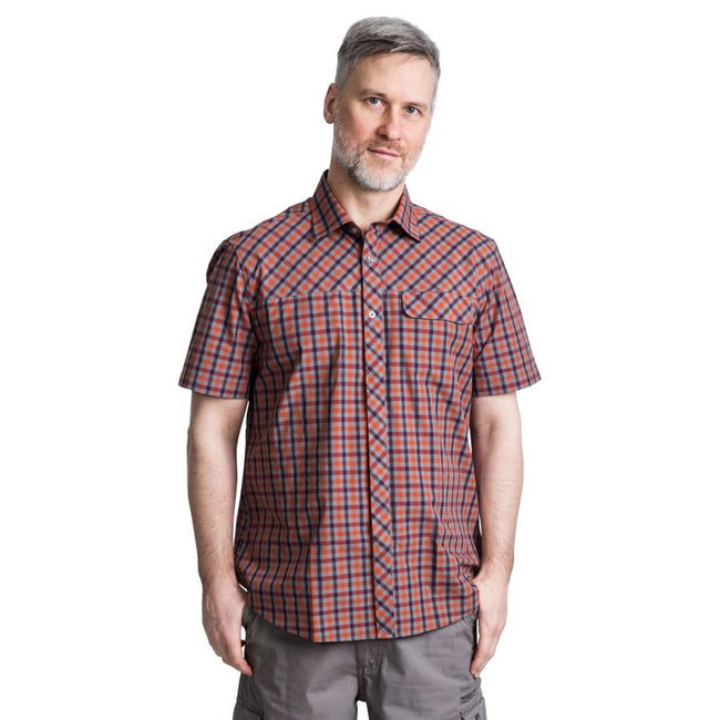 Blue Check - Front - Trespass Mens Juba Short Sleeve Casual Shirt