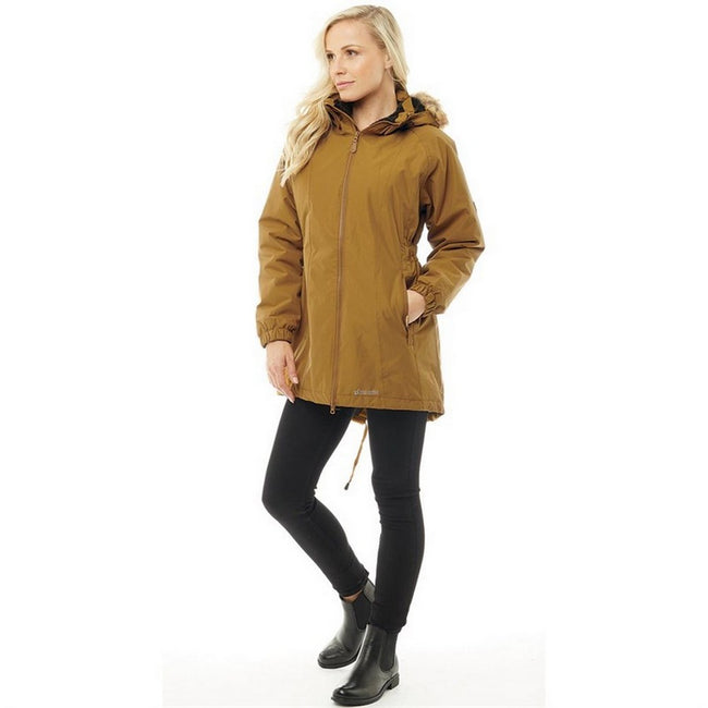 Golden Brown - Side - Trespass Womens-Ladies Celebrity Insulated Longer Length Parka Jacket
