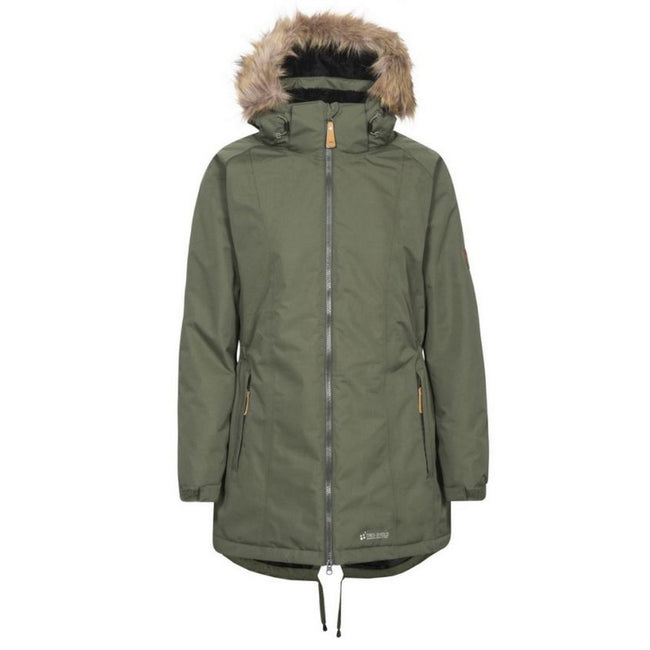 Moss - Front - Trespass Womens-Ladies Celebrity Insulated Longer Length Parka Jacket