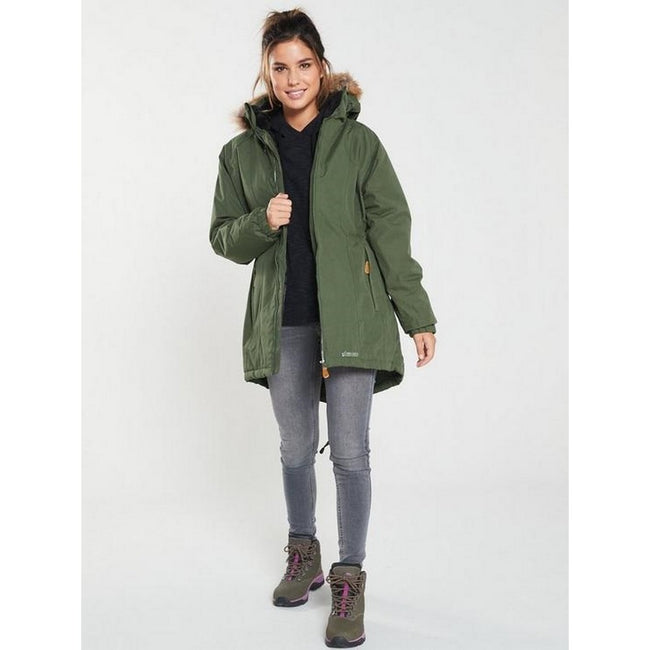 Moss - Back - Trespass Womens-Ladies Celebrity Insulated Longer Length Parka Jacket