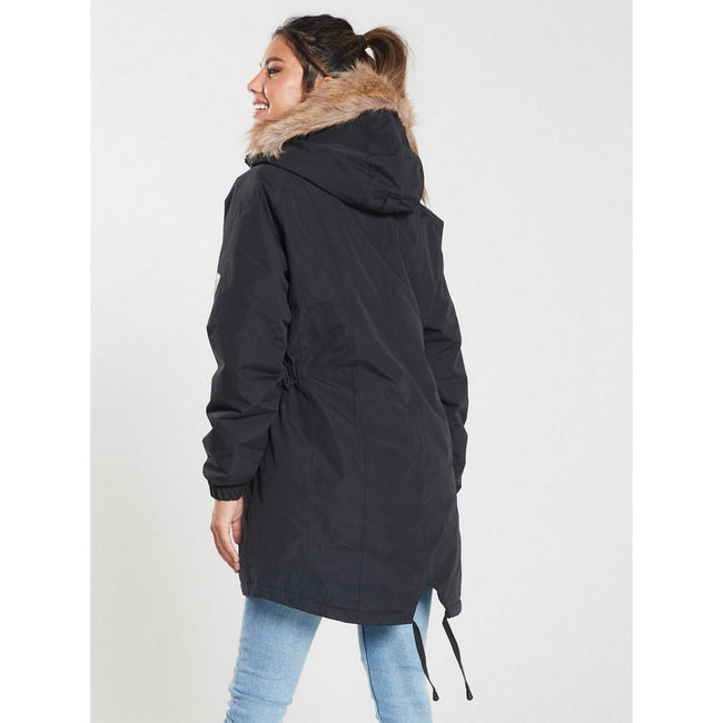 Black - Side - Trespass Womens-Ladies Celebrity Insulated Longer Length Parka Jacket
