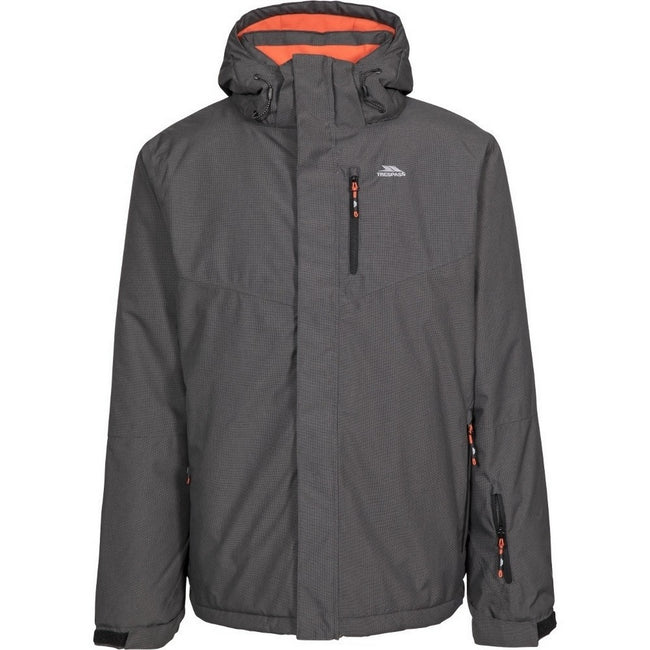 Carbon - Front - Trespass Mens Cavan Hooded Ski Jacket