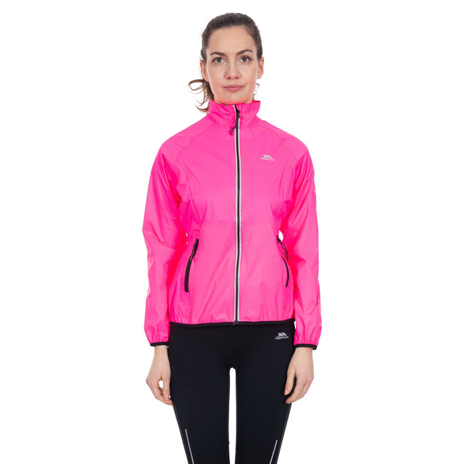 Hi Visibility Pink - Back - Trespass Womens-Ladies Beaming Packaway Hi-Vis Jacket