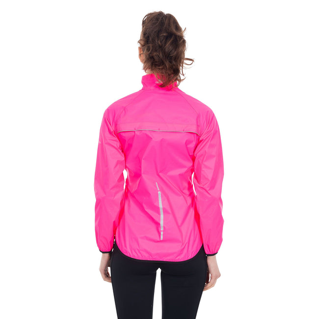 Hi Visibility Pink - Side - Trespass Womens-Ladies Beaming Packaway Hi-Vis Jacket