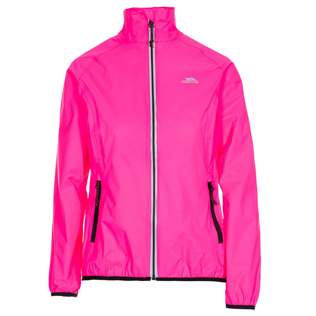 Hi Visibility Pink - Front - Trespass Womens-Ladies Beaming Packaway Hi-Vis Jacket