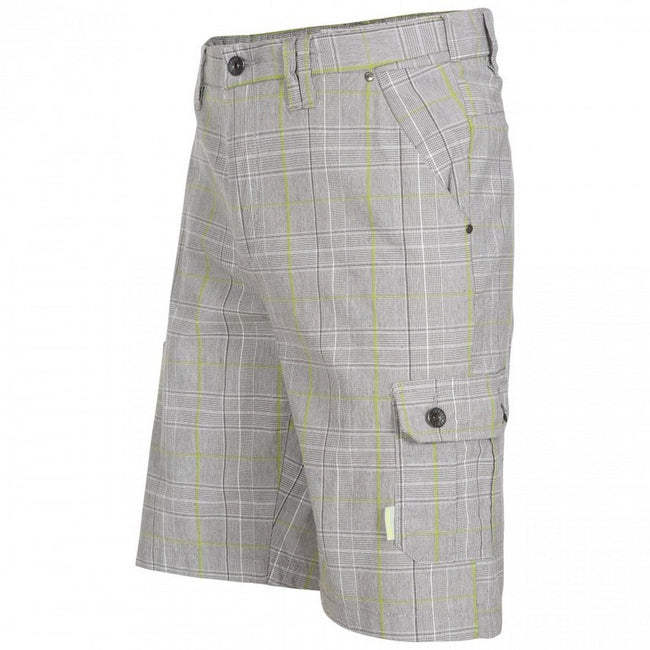 Oatmeal Check - Side - Trespass Mens Earwig Cargo Shorts