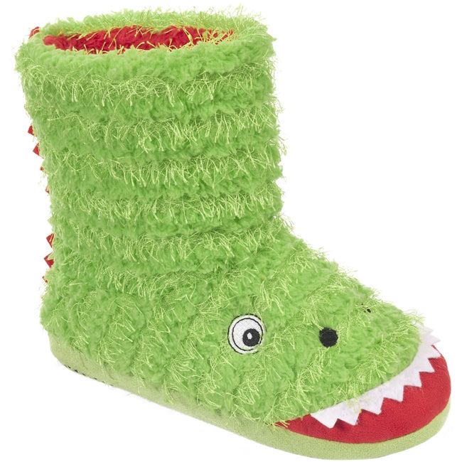 Clover - Front - Trespass Childrens-Boys Dino Novelty Boot Slippers