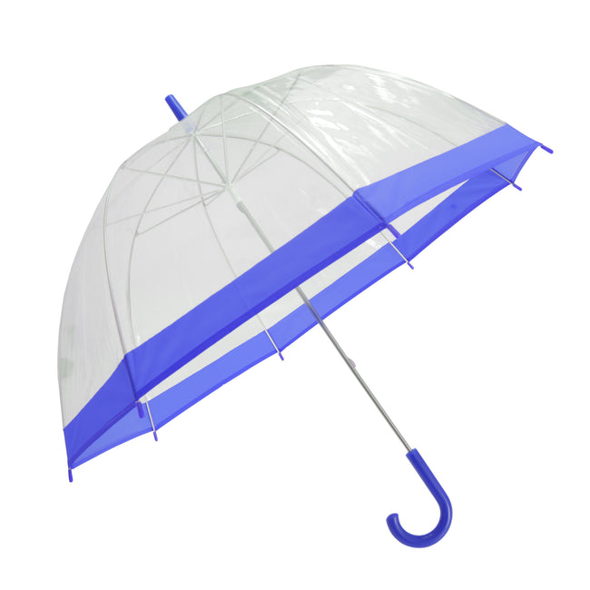 Clear-Blue - Front - Adults Unisex Transparent Dome Walking Umbrella