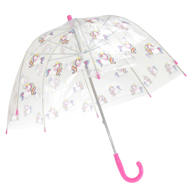 Unicorn - Front - X-Brella Childrens-Kids Transparent Unicorn Themed Stick Umbrella