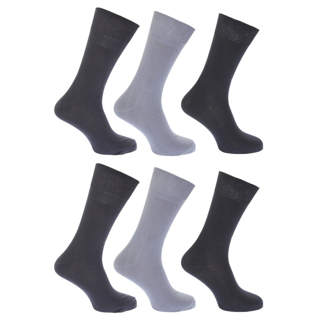 Shades of Grey - Front - FLOSO Womens-Ladies Plain 100% Cotton Socks (Pack Of 6)