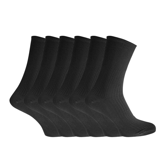 BLACK - Front - Healthy Womens-Ladies Easy-slide 100% Cotton Socks (6 Pairs)