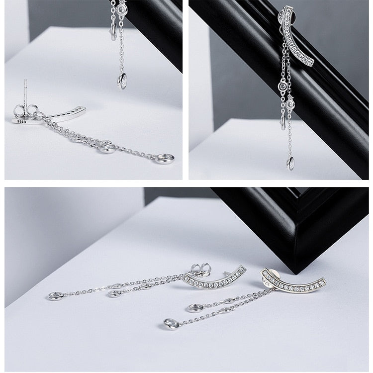 925 Sterling Silver Swinging Light Drop Earrings