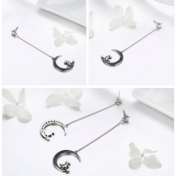 925 Sterling Silver Long Drop Earrings