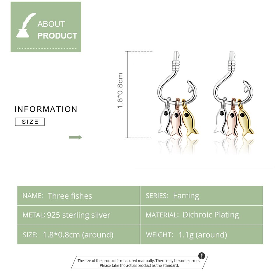 925 Sterling Silver 3 Colors Earrings