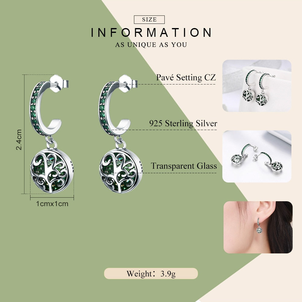 925 Sterling Silver Green Tree of Life Drop Earrings