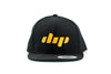 Dip black and yellow flatbill hat front view