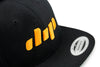 Dip black and yellow flatbill hat close up