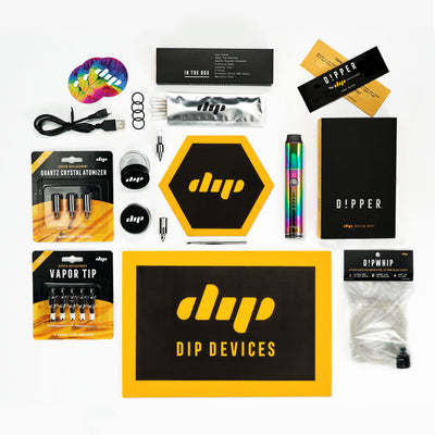 All inclusive Dipper Starter Kit - Rainbow with Quartz Crystal Atomizer, Vapor tips, rainbow stickers, Dipwhip, glass wax containers, wax dab tools, dab mat
